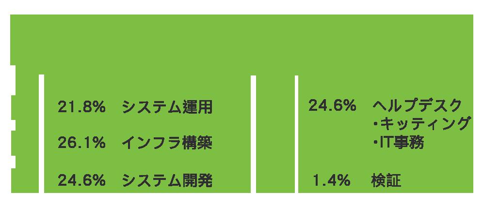 スキルマップ(分野) : システム開発:21.8% - インフラ構築:26.1% - システム運用:24.6% - ヘルプデスク・キッティング・IT事務:24.6% - 検証:1.4%
